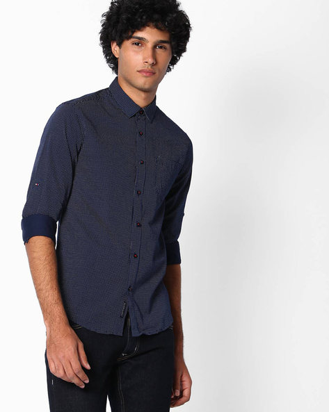 Printed Slim Fit Cotton Shirt By The Indian Garage Co ( Navy )