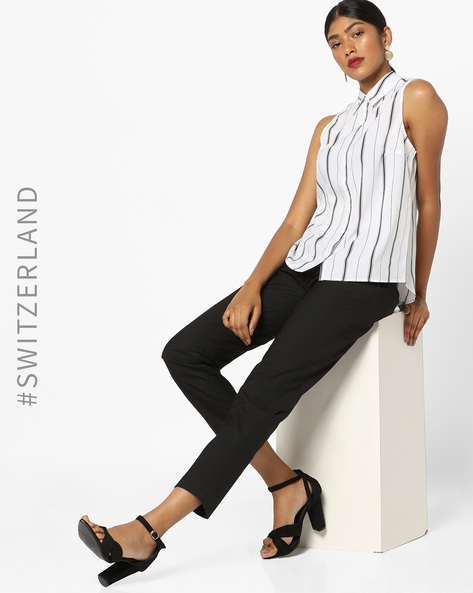 Striped Sleeveless Shirt With Back Slit By TALLY WEiJL ( White )