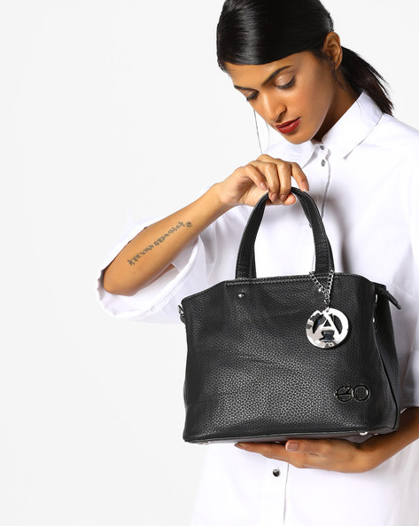 Textured Satchel Bag With Detachable Strap By E2O ( Black )