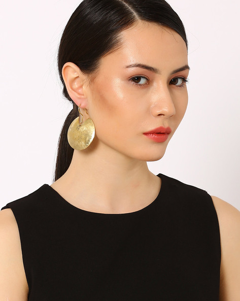 Brass Drop-Earrings With Hammered Finish By AJIO ( Gold )