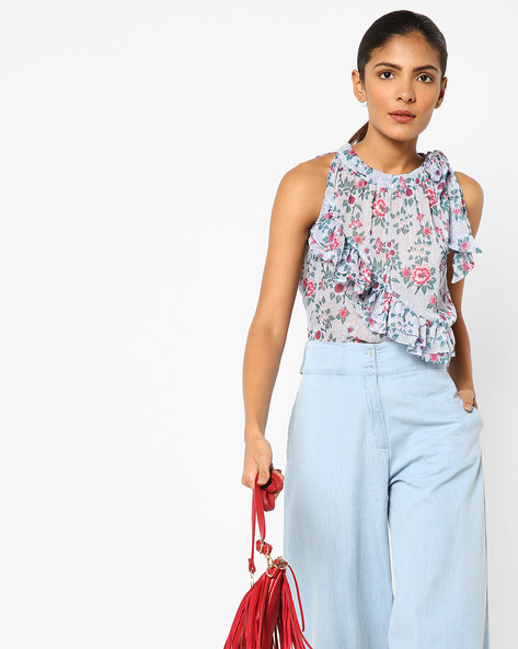 Sleeveless Printed Top With Ruffled Panel By AJIO ( Navy )