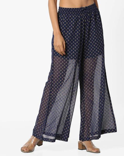 Printed Palazzos With Elasticated Waist By Project Eve IW Evening ( Blue )