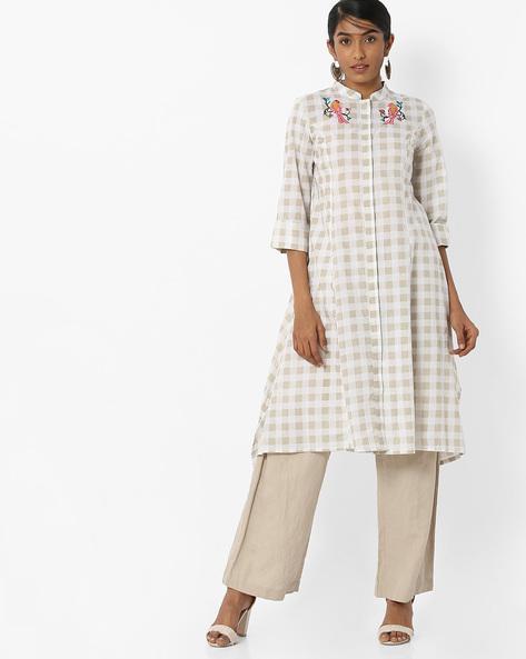 Checked Kurta With Handkerchief Hemline By AJIO ( Offwhite ) - 460150610002