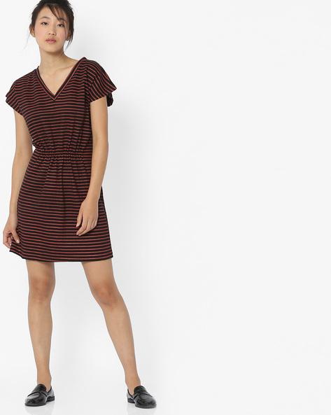Striped A-Line Dress With V-Neckline By ANONYMOUS CO ( Redorange )