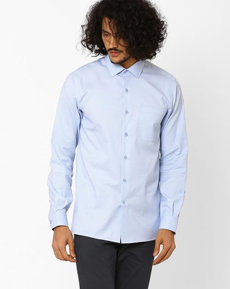 Barclay Classic Slim Fit Shirt By Wills Lifestyle ( Blue )