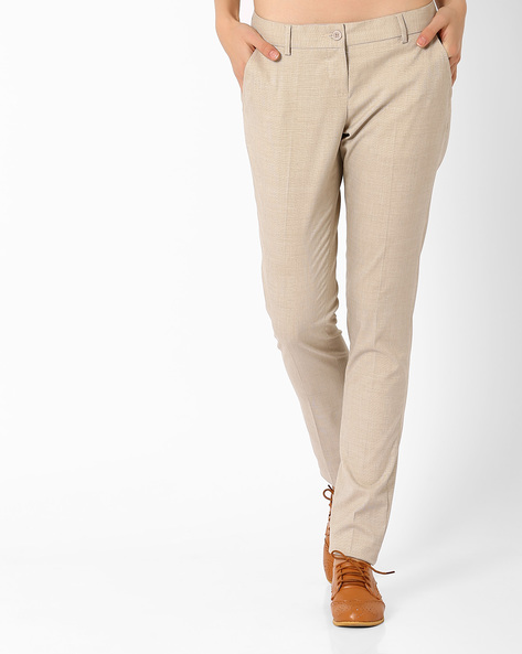 Flat-Front Trousers By Annabelle By Pantaloons ( Beige )