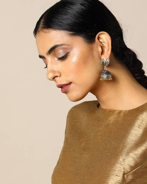 Two-Toned Lotus-Shaped Brass Jhumka Earrings By Studio B40 ( Goldensilver )