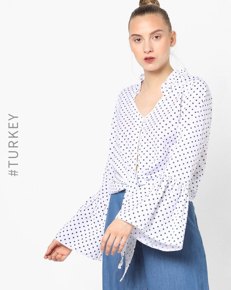Polka-Dot Print Shirt With Bell Sleeves By TRENDYOL ( White )