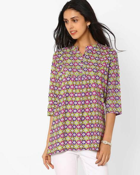 Printed Tunic With Mandarin Collar By FUSION ( Lime )