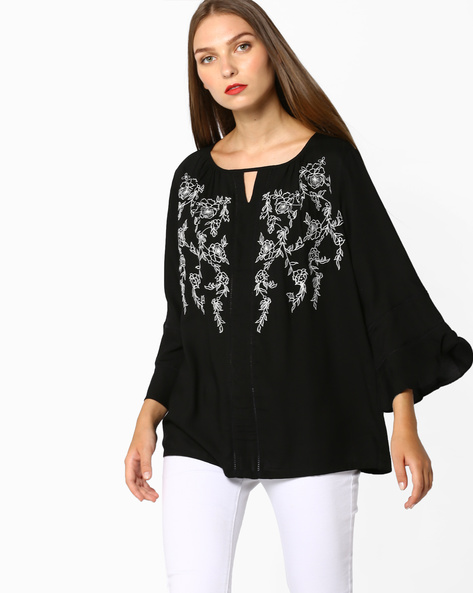 Embroidered Top With Bell Sleeves By And ( Black )