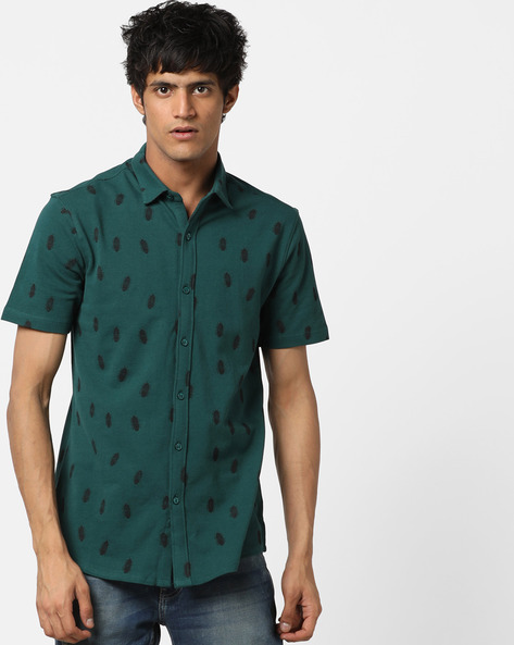 Bug Print Pique Knit Shirt With Spread Collar By AJIO ( Green )