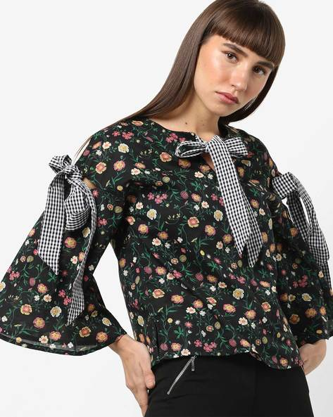 Floral Print Top With Striped Tie-Ups By AJIO ( Black )