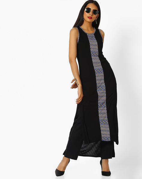 Panel Print Straight Kurta With High-Low Hem By AVAASA MIX N' MATCH ( Black )