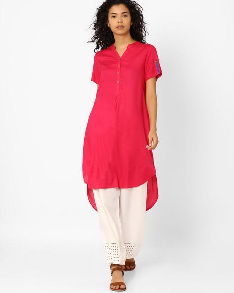 Kurta With High-Low Hem By Global Desi ( Pink )