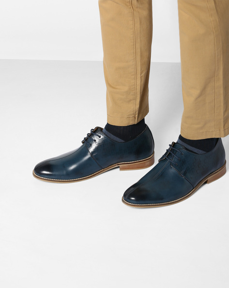 Derby Shoes With Handmade Sole By TURN ( Blue )