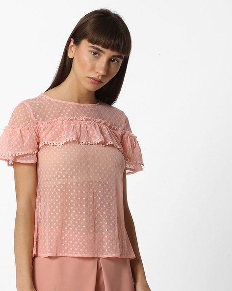 Ruffled Top With Swiss Dots By Oxolloxo ( Pink )
