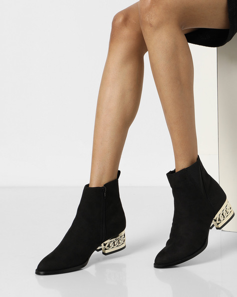 Ankle-Length Boots With Cut-Out Heel By Truffle Collection ( Black )