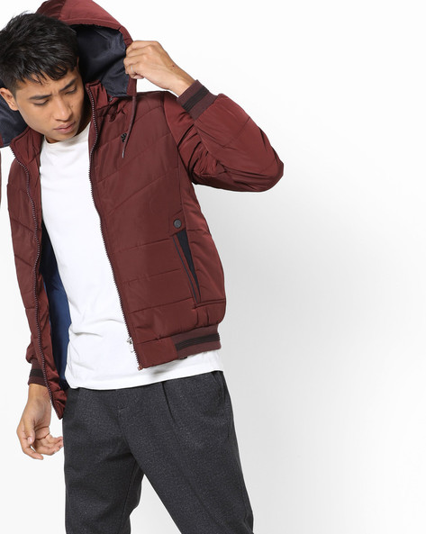 Quilted Jacket With Hood By Fort Collins ( Burgundy )