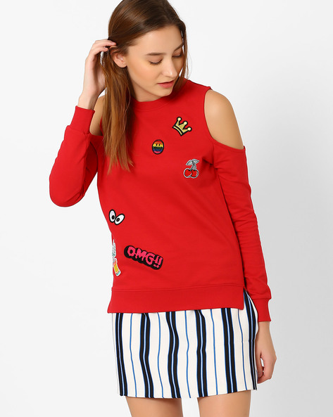Printed Sweatshirt With Cutaway Shoulder By Evah London ( Red )