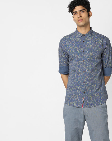 Geometric Print Slim Fit Shirt By AJIO ( Navy )