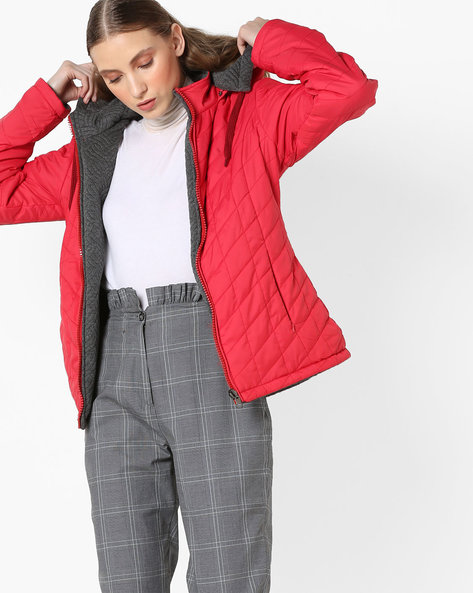 Hooded Quilted Jacket By Fort Collins ( Red )