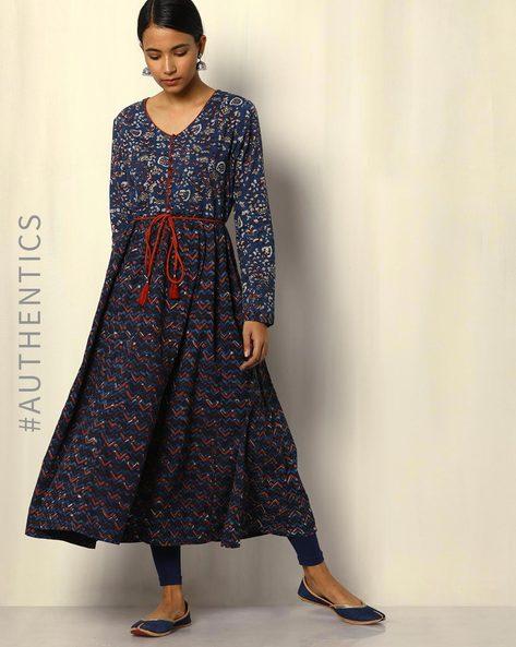 Dabu Handblock Print Indigo Cotton Kurta With Gold Khari By SWADESH ( Blue )