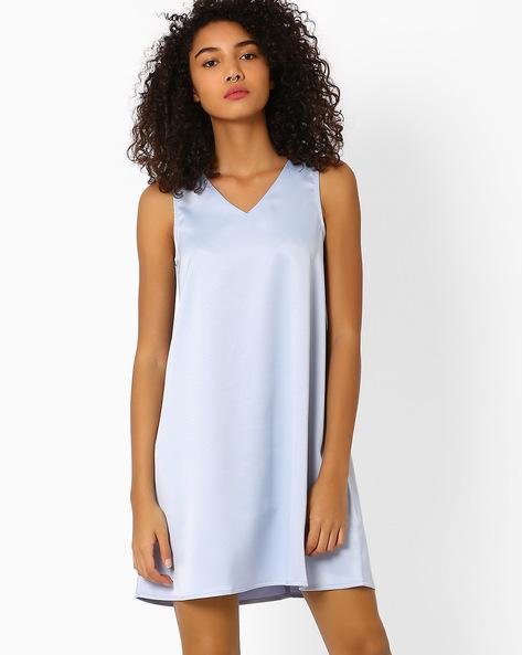 A-line Dress With V-neck By Vero Moda ( Blue )