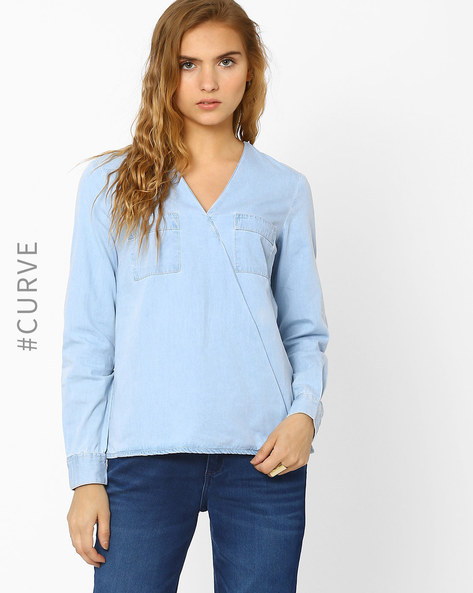 Overlapping Denim Top By AJIO ( Lightblue )