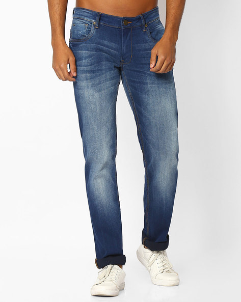 Lightly Washed Slim Fit Jeans By BASICS ( Navy )