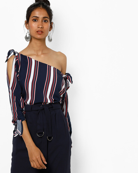 Printed Cold-Shoulder Top With Tie-Ups By AJIO ( Navy )
