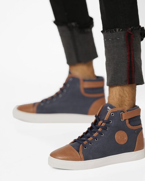 Strada Colourblock Mid-Top Lace-Up Shoes By Jack & Jones ( Blue )