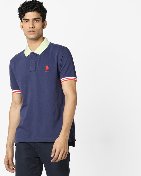 Polo T-shirt With Contrast Collar & Tipping By US POLO ( Blue )