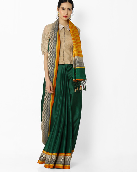 Striped Dupion Silk Saree By Amori ( Green )