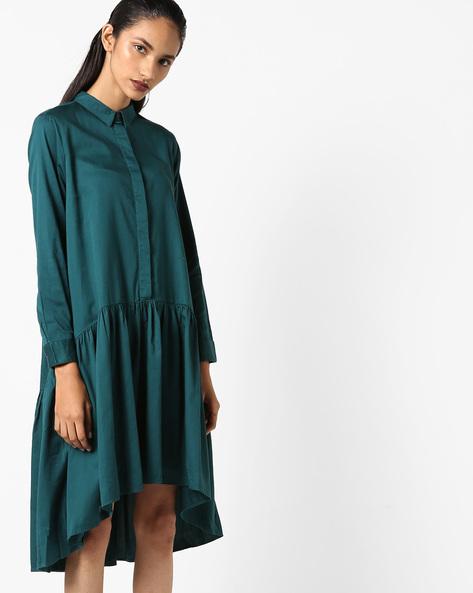 Drop-Waist Shirt Dress By Evah London ( Green )