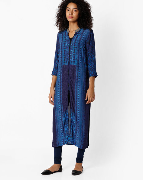 Printed Straight Kurta With Front Slit By Biba ( Indigo )