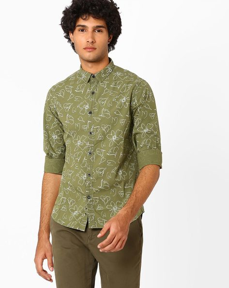 Over-Dyed Floral Print Slim Fit Shirt By AJIO ( Olive )