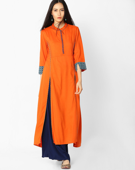 Collared Kurta With Contrast Stitch Detail By Jiyaa ( Orange )