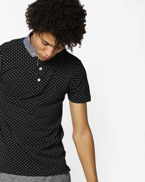 Printed Polo T-shirt With Contrast Collar By FLYING MACHINE ( Black )