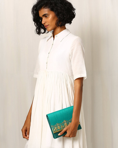 Pure Raw Silk Clutch With Zari Embroidery By Molcha ( Green )