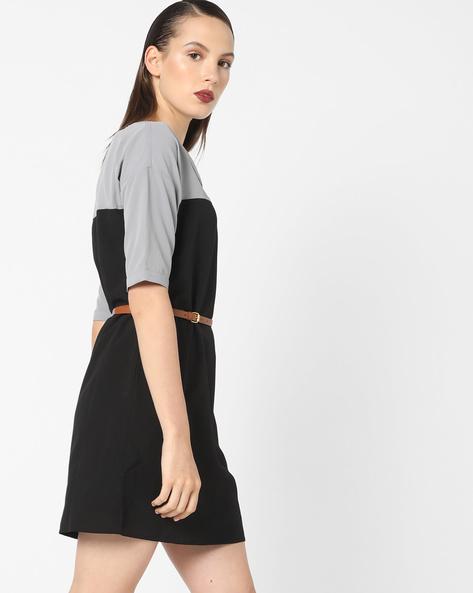 Colourblock Shift Dress With Belt By AJIO ( Black )