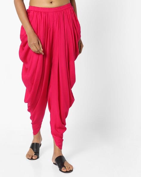 Dhoti Pants With Elasticated Waist By AJIO ( Fuchsia )