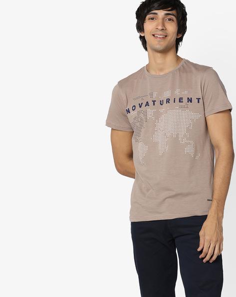 Slim Fit Graphic Print T-shirt By AJIO ( Pink )