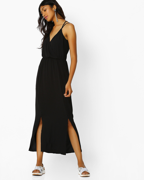 Strappy Dress With Front Slits By Oxolloxo ( Black )