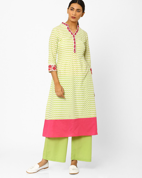 Chevron Print Kurta With Embroidery By AJIO ( Green )