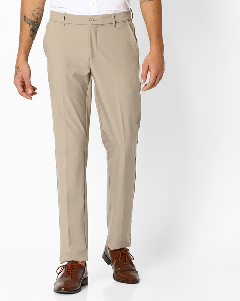 Flat-Front Slim Fit Stretch Trousers By NETWORK ( Khaki )