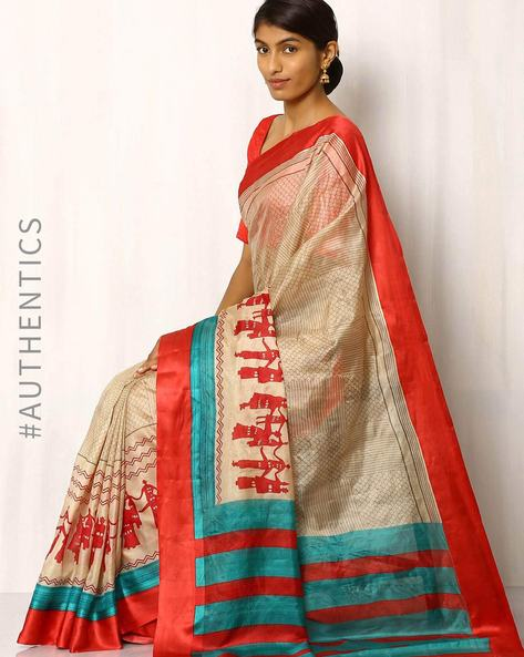 Half & Half Printed Pure Silk Saree By Rudrakaashe-MSU ( Beige )