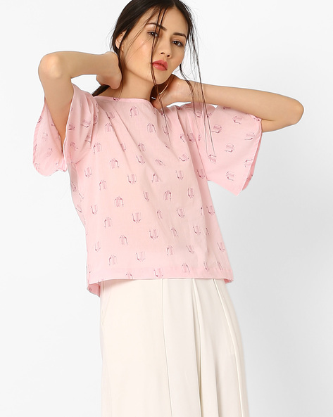 Printed Top With Flared Sleeves By AJIO ( Lightpink )