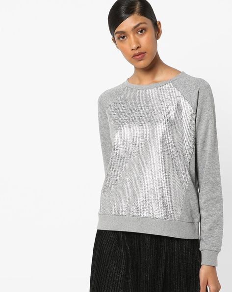 Round-Neck Sequined Sweatshirt By Only ( Greymelange )