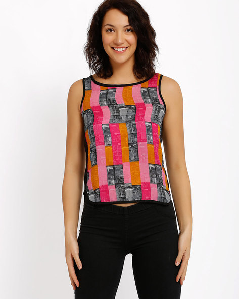Printed Sleeveless Top By Candies By Pantaloons ( Pink )