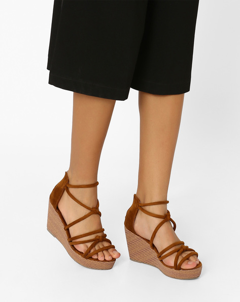 Strappy Wedges With Zipper By MFT Couture ( Brown )